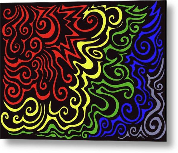 Rainbow Burst Tribal Metal Print