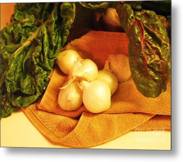 Rainbow Chard And Pearl Onions Metal Print by Jamey Balester