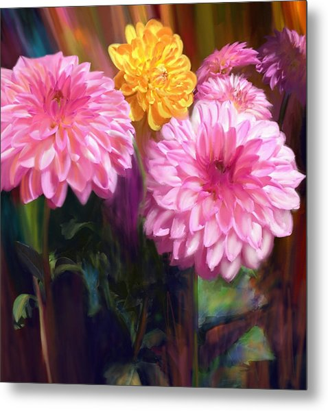 Rainbow Dahlias Metal Print