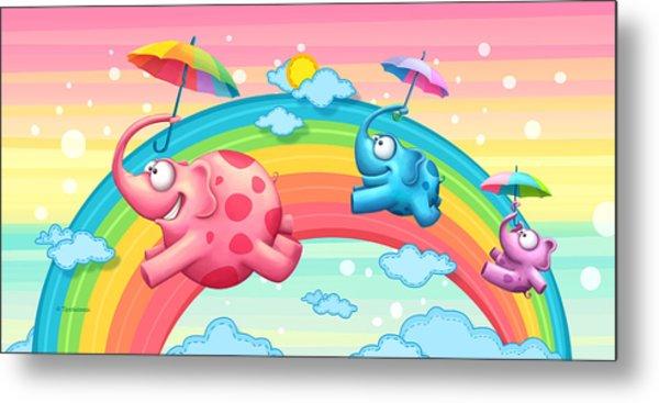 Rainbow Elephants Metal Print