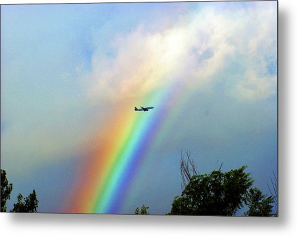 Rainbow Flight Over Denver Colorado Metal Print