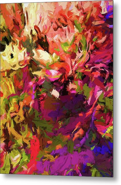Rainbow Flower Rhapsody Purple Green Metal Print