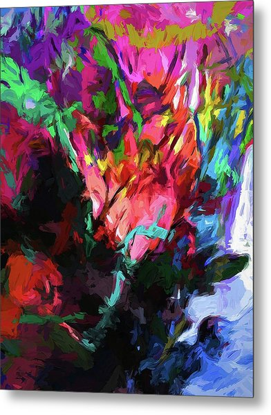 Rainbow Flower Rhapsody Red Turquoise Blue Metal Print