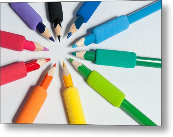 Rainbow Of Crayons Metal Print