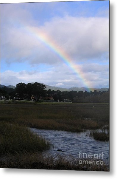 Rainbow Over Carmel Wetlands Metal Print