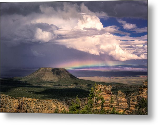 Rainbow Over Cedar Mountain Metal Print