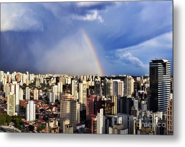 Rainbow Over City Skyline - Sao Paulo Metal Print