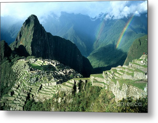 Rainbow Over Machu Picchu Metal Print
