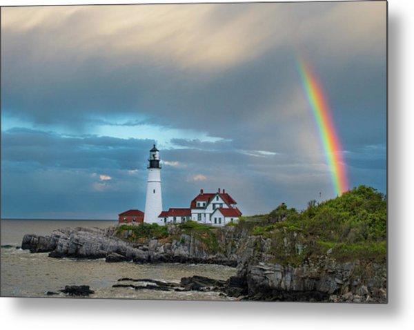 Rainbow Over Portland Head Light Metal Print