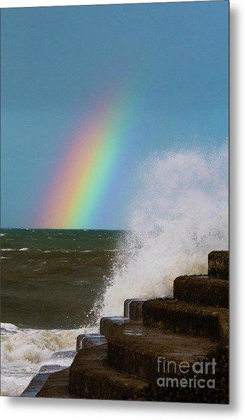 Rainbow Over The Crashing Waves Metal Print