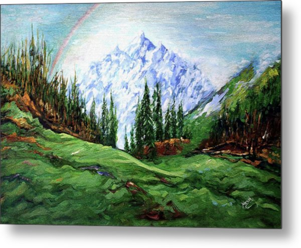 Rainbow Over The Snow Covered Mountain Metal Print