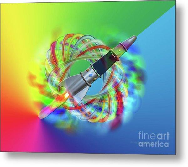 Rainbow Rocket Orbits Metal Print