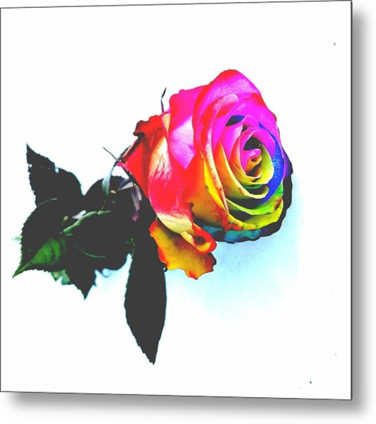 Rainbow Rose 2 Metal Print