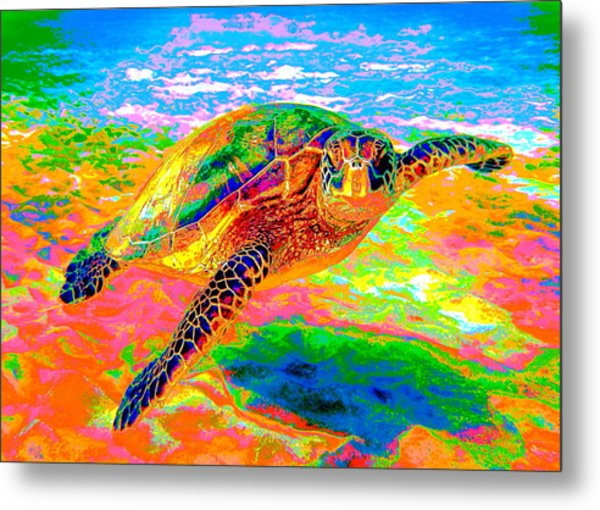 Rainbow Sea Turtle Metal Print