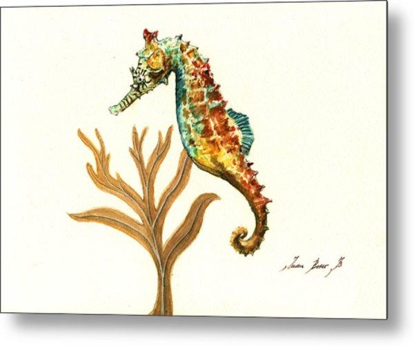 Rainbow Seahorse Metal Print