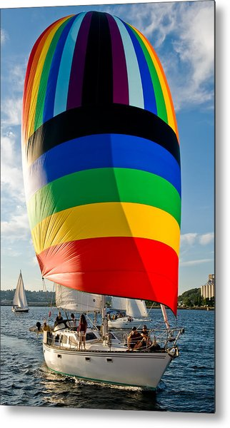 Rainbow Spinaker Metal Print by Tom Dowd