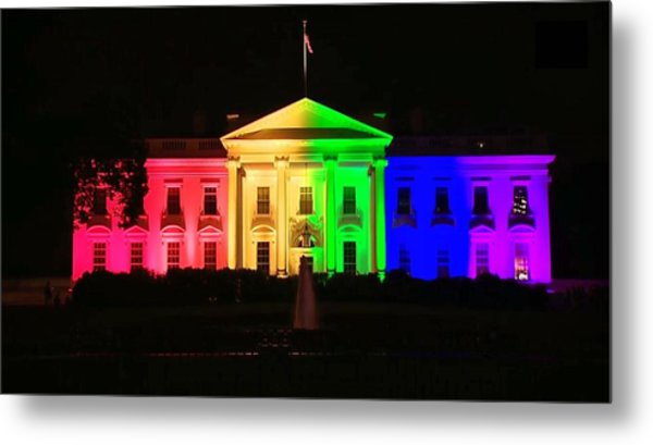 Rainbow White House Metal Print