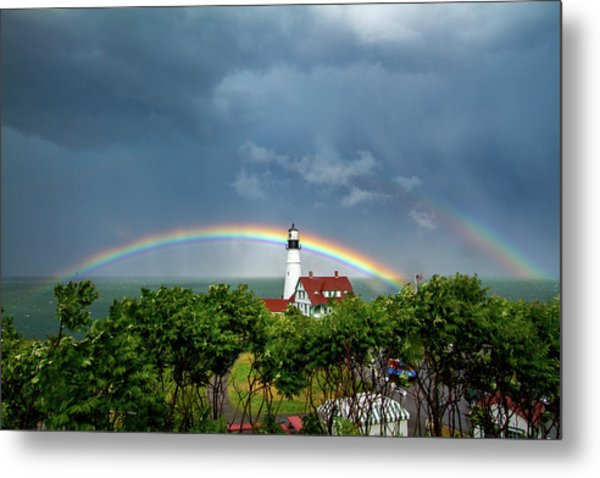 Rainbow X 2 At Portland Headlight Metal Print