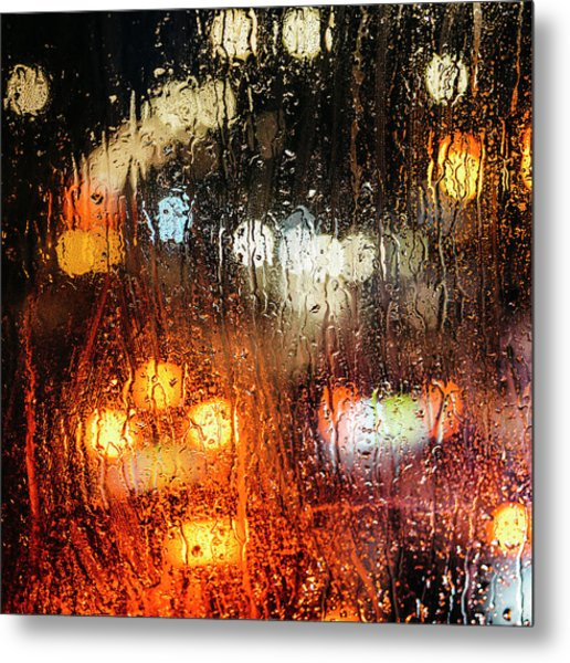 Raindrops On Street Window Metal Print