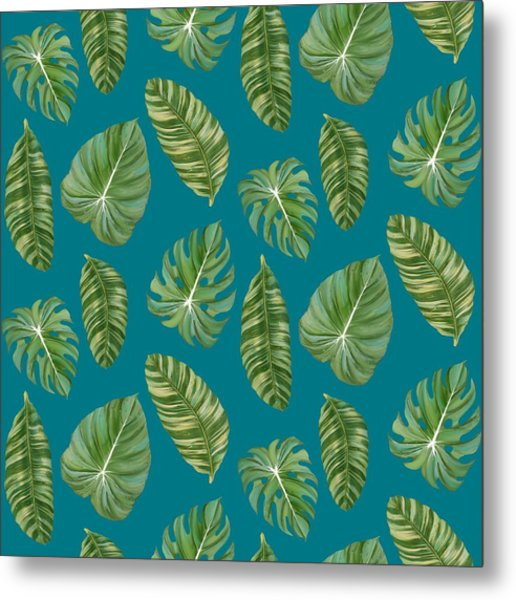 Rainforest Resort - Tropical Leaves Elephant's Ear Philodendron Banana Leaf Metal Print
