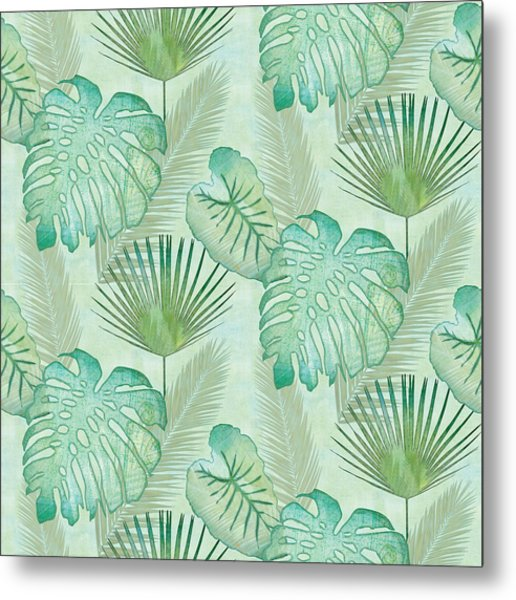 Rainforest Tropical - Elephant Ear And Fan Palm Leaves Repeat Pattern Metal Print
