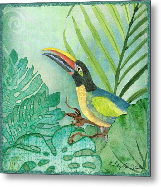 Rainforest Tropical - Jungle Toucan W Philodendron Elephant Ear And Palm Leaves 2 Metal Print