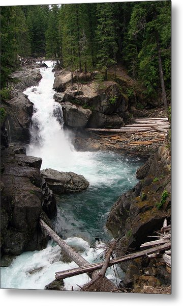 Rainier Waterfall Metal Print by Ty Nichols