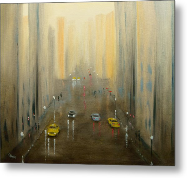 Rainy Day Cityscape Metal Print