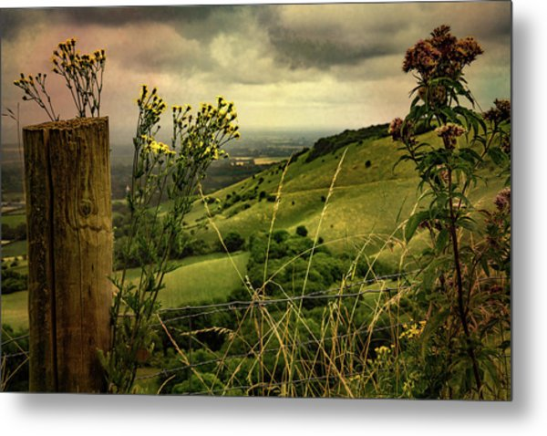 Metal Print featuring the photograph Rainy Day Hilltop View On The South Downs by Chris Lord