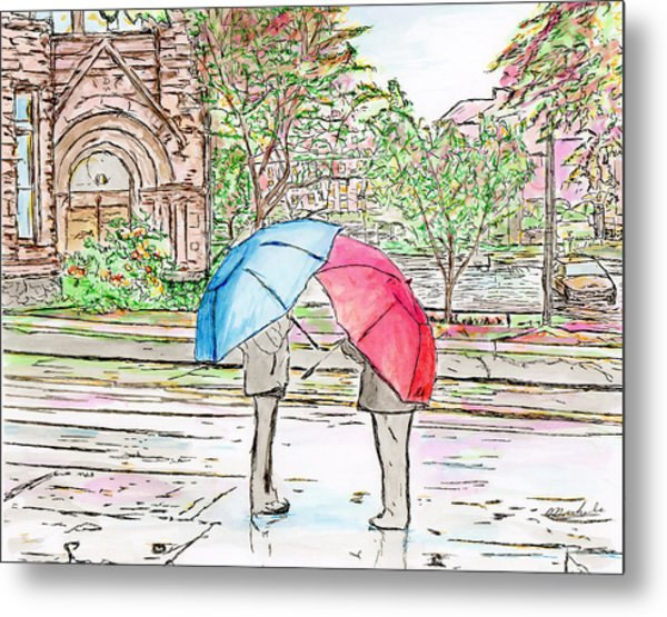 Rainy Day In Downtown Worcester, Ma Metal Print