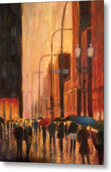Rainy Evening Chicago Metal Print