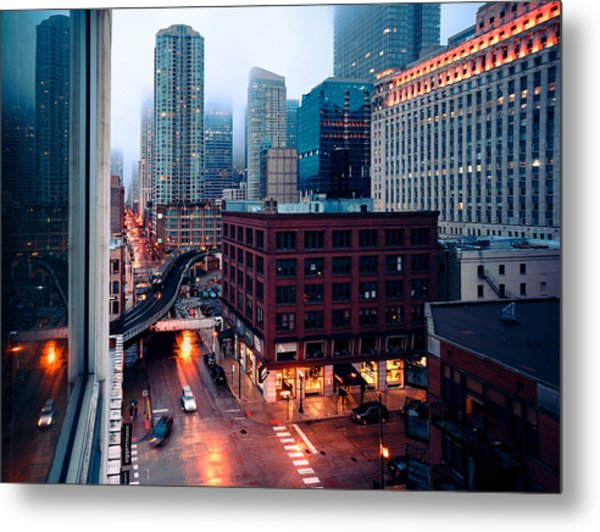Rainy Foggy Chicago Metal Print