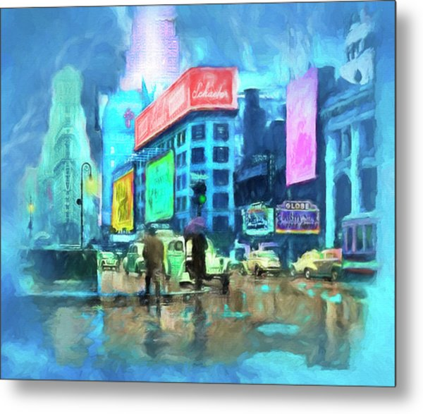Rainy Night In New York Metal Print