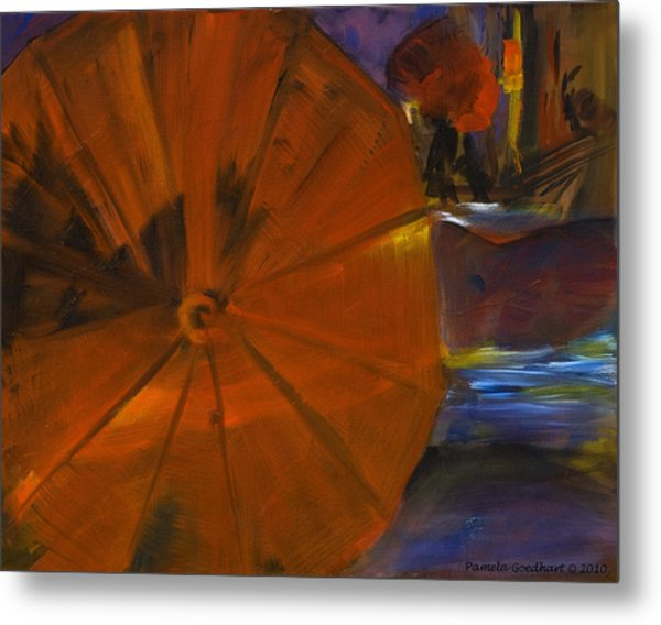 Rainy Night In The City Metal Print by Pamela Goedhart