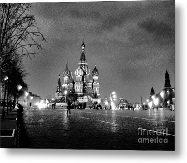 Rainy Red Square At Dusk Metal Print by Steve Rudolph