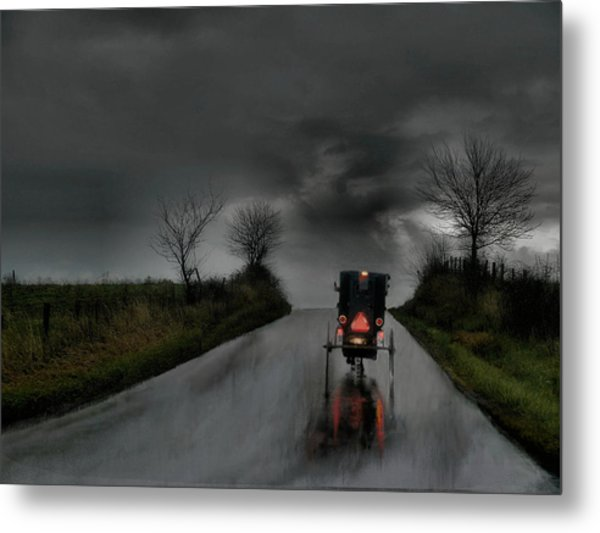 Rainy Ride Metal Print