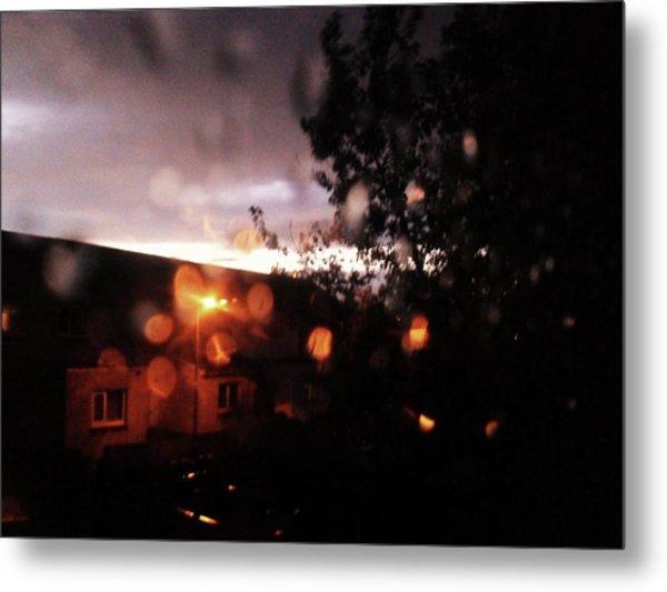 Rainy Sunset Metal Print by Chrisselle Mowatt