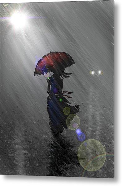 Rainy Walk Metal Print