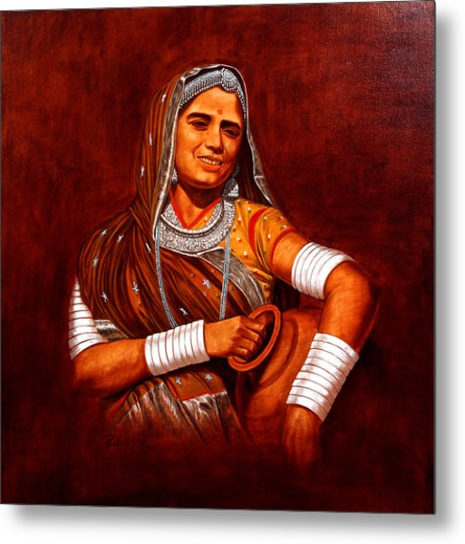 Rajasthani Lady Metal Print by Pawan