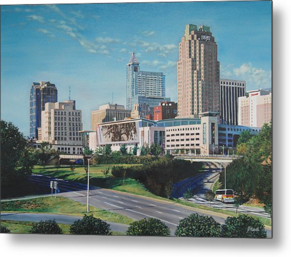 Raleigh Downtown Realistic Metal Print