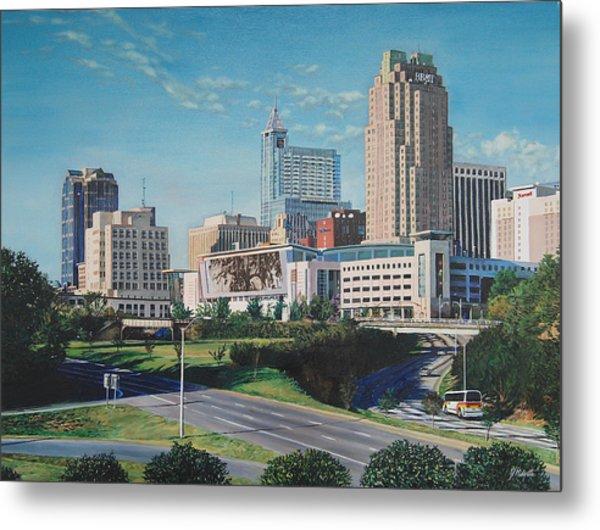 Raleigh Downtown Realistic Metal Print
