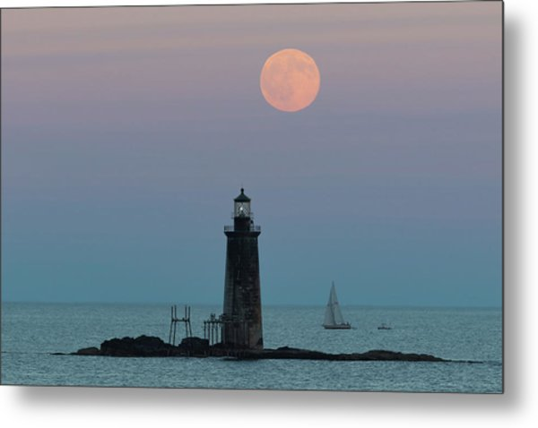 Ram Island Light Buck Moon And Sailboat Metal Print