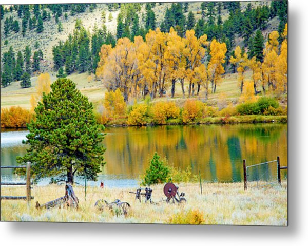 Ranch Pond In Autumn Metal Print
