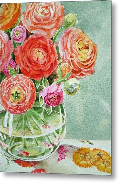 Ranunculus In The Glass Vase Metal Print
