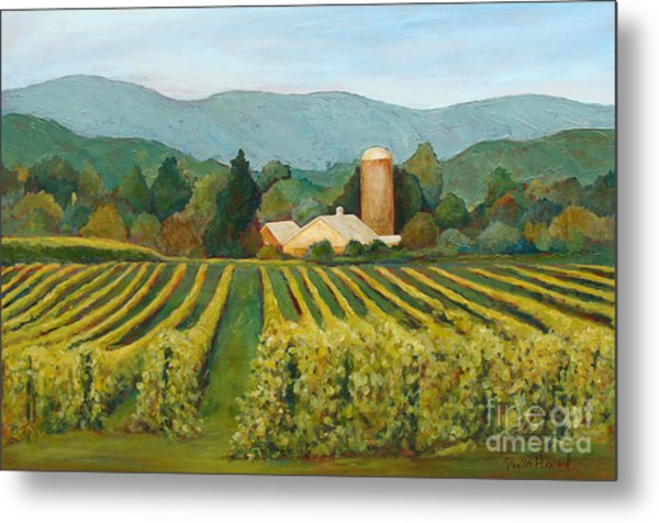 Metal Print featuring the painting Raspberry Rows by Phyllis Howard