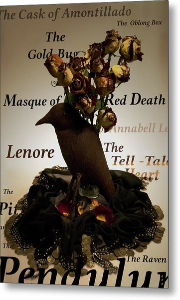 Raven And Roses Metal Print