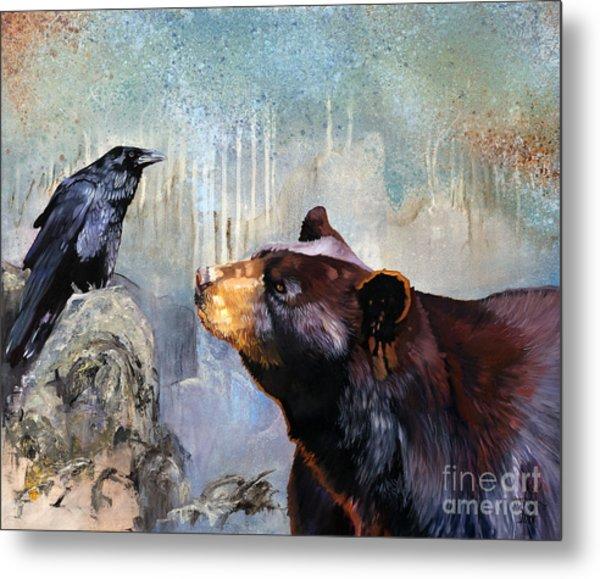 Raven And The Bear Metal Print