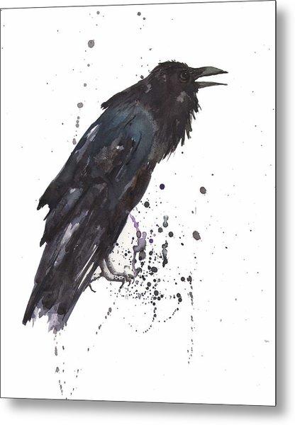 Raven  Black Bird Gothic Art Metal Print