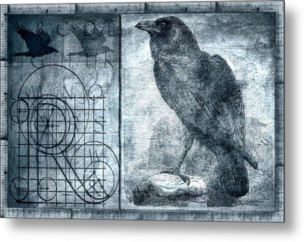 Raven Etching Photomontage Metal Print