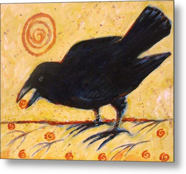 Raven Grazing Metal Print